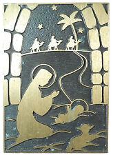 Magi three kings camels nativity CHRISTMAS PLAQUETTE. By Medinor.