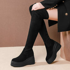 Over the Knee Boots Women Suede Leather Round Toe Thigh High Creeper Boots Punk