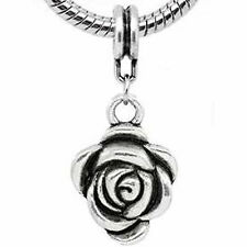Rose Flower European Bead Compatible for Most European Snake Chain Bracelet