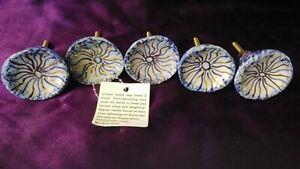 Set of 5x Ceramic Drawer Knobs Door Cupboard Hand Painted in India 4cmx3cm Blue