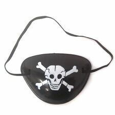 6 Pirate Eye Patches Patch Black Satin Toys Fancy Dress Party Costume