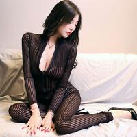 Dame Coffee Striped Sheer Bodysuit Smooth Fiber 2 Zipper Long Sleeve Jumpsuit