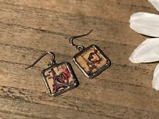Recycled Wood Jewelry, Square Dangling Earrings w/Metal Charm