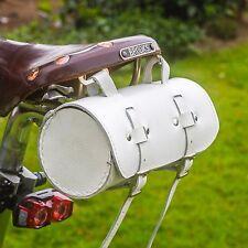 Classic Bicycle Saddle Bag Real Leather WHITE Handlebar Frame Seat Bag UK STOCK