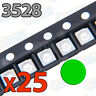 25x LED SMD3528 VERDE 20mA brillo smd 3528 green