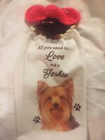 Yorkie Dog Love Double Unique Crochet Top Hanging Kitchen Dish Towel By Laura