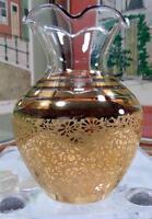 "VINTAGE FLORAL GILT ART GLASS RUFFLED RIM 4 3/8"" BUD VASE"
