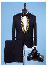 Men Formal One Button Blazer Suits Glitter Slim Wedding Dress Coat Pants Singers