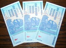 3X ZIMBABWE 100 TRILLION DOLLARS CURRENCY 2008 AA SERIES! (OVER 50 IN STOCK!)