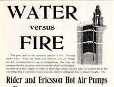 1902 ad Vintage Water Vs Fire Rider Ericsson Hot air Pumps Laflin & Rand gun Pow