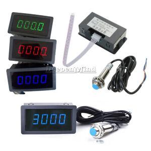 Tachometer 4-Digital LED Tach RPM Speed Meter W/ Hall Proximity Switch Sensor