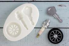 Silicone Mould, Car Wheel, Alloy,Tyre Spark Plug,Key, Ellam Sugarcraft M0126