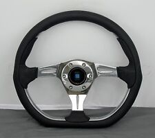 Nardi Kallista Metal Steering Wheel - 350mm - Black Leather with ABS Inserts