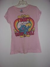 The Smurfs Pink Tee Size XL 15 / 17 I Don't Smurf & Tell - 100% Cotton