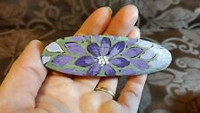 Hand Painted Barrette Wooden Hair Accessory Floral metal clip Handmade Purple