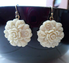 BRAND NEW White Resin Rose Earrings