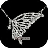 18k white gold gp made with SWAROVSKI crystal butterfly luxury pendant necklace