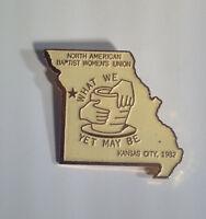 Vintage 1982 North American Baptist Women's Union Pin Kansas City Missouri Shape