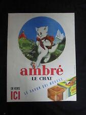 O547 AMBRE LE CHAT SAVON MARSEILLE PUBLICITE PAPIER  29,5x38,5 cm ORIGINAL
