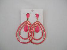 Double Row Pink Enamel Open Pearshape Drop Earrings Teardrop Top/Middle