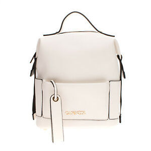 CAFENOIR Backpack Grainy PU Leather Adjustable Straps & Sides Metal Logo Zipped