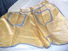 """Apron Tea Apron Vintage Yellow and Blue Polyester 20"""" L 18""""W Two Pockets Lovely"""