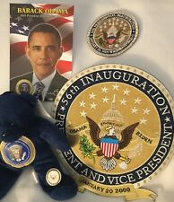 5 PRES OBAMA = PIN 2009 INAUGURATION & EMBROIDERED IRON ON PATCH Toy BEAR CARD