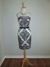 White House Black Market Size 0 Strapless Floral Medallion Satin Print Dress