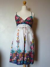 Fee Red Floral Summer Dress with Tie Waist Brand New White/Multi Uk Freepost