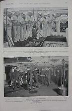 1898 BOER WAR ERA PRINT ~ NAVAL NAVY KNOTS SAILORS MARINES GUN PRACTICE
