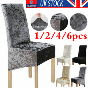 1/2/4/6X Crushed Velvet Dining Chair Covers Stretchable Christmas Slipcover Dec