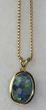 14K GOLD OPAL MOSAIC PENDANT ON A VERMEIL STERLING SILVER CHAIN NECKLACE