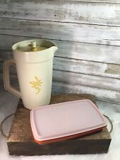 Vintage Lot Tupperware Pitcher Almond Harvest Gold Lid & Lunchmeat Keeper