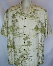 Mens Tommy Bahama Silk Hawaiian Shirt Sz L Palm Trees Hibiscus SS Button Fr