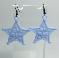 Pale Blue Sheriff Star Eagle Acrylic Earrings D213 Kitsch Fun 6 cm
