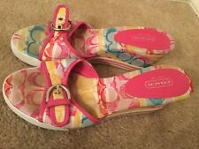 "Coach ""Perry"" Pink Floral Fabric Wedge Heels Shoes 8 B"