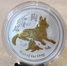 2018 Year of the Dog Perth Mint Lunar Series II | 1 oz Silver 24k Gold Gilded