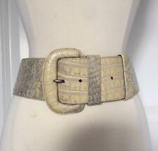 "Donna Karan New York Genuine Caiman Crocodile Ivory/Gray Belt 2-1/2""  Italy Sz S"