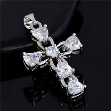silver plated clear cubic zirconia cross crucifix Pendant