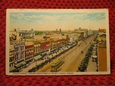 1925. KANSAS AVENUE. STREET CARS. TOPEKA, KANSAS. POSTCARD I4