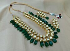 Bollywood South Indian Green Tumbler Kundan Necklace Earrings Set Women Jewelry