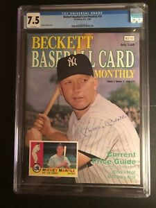 Vintage Beckett Baseball Card Monthly #19 - Mickey Mantle - graded CGC 7.5