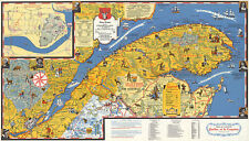 Midcentury Quebec Canada Holiday Guide Map Vintage History Wall Art Poster Print