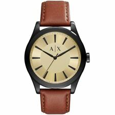 NEW Armani Exchange Nico Gold Tone Dial Mens Leather Watch