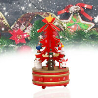 Christmas Tree Shaped Rotating Wood Music Box Clockwork Ornament Toys Gifts