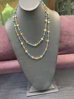 Signed Nine West Vintage America Collection Turquoise Crystal Beaded  NECKLACE