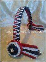 """New Red, White and Navy Show Velvet Browband pony cob full size 3/4"""" OR 1"""" wide"""