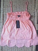 Vest Cami Top Size 10 New Look Orange BNWT New with Tags Embroidered