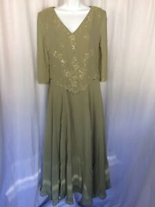 Scala Mother of Bride Dress Sage Green with Beading V-Neck Size 6