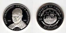 LIBERIA   20 Dollars 2000   US-Präsidenten   Eisenhower    Silber/PP